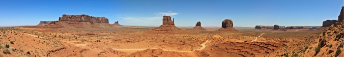 Buttes of sandstones and conglomerates create a fascinating landscape in Monument Valley.